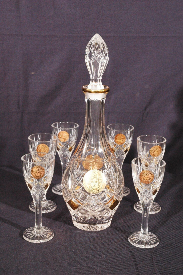 5: Bohemia Crystal Decanter & Port Glasses
