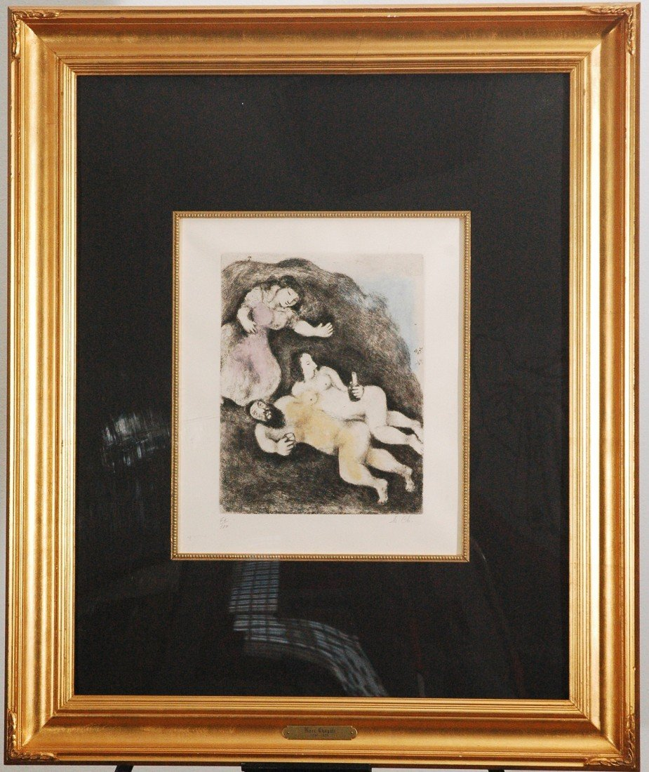 "15: Marc Chagall ""Lot and His Doughters"" Etching"