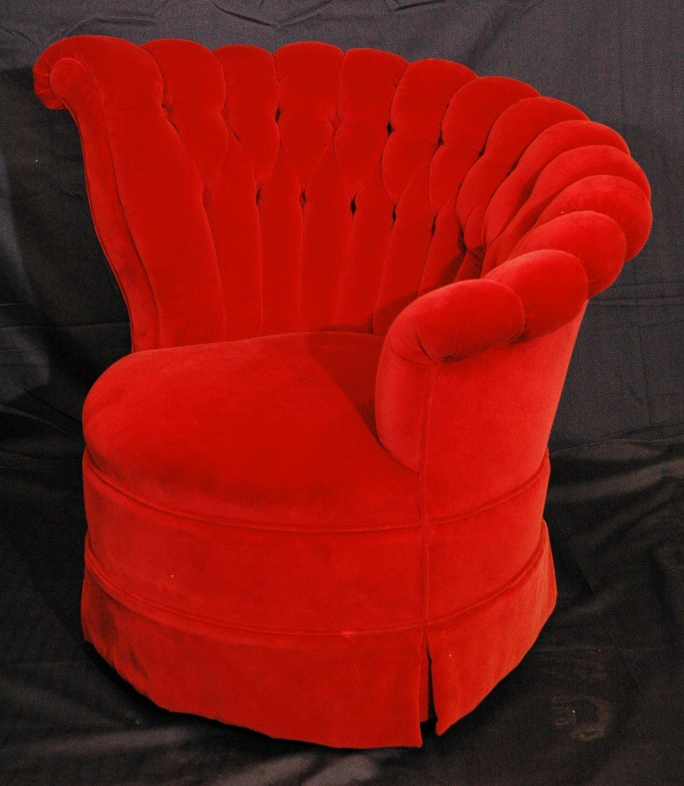 26: 1930's Hollywood Regency Velvet Chair