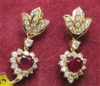 151: Ruby and Diamond Set Earrings