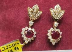 246: Ruby and Diamond Set Earrings