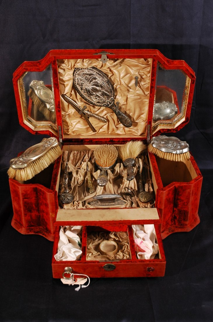 7: Antique French Ladies Dressing Kit with Velvet Carry