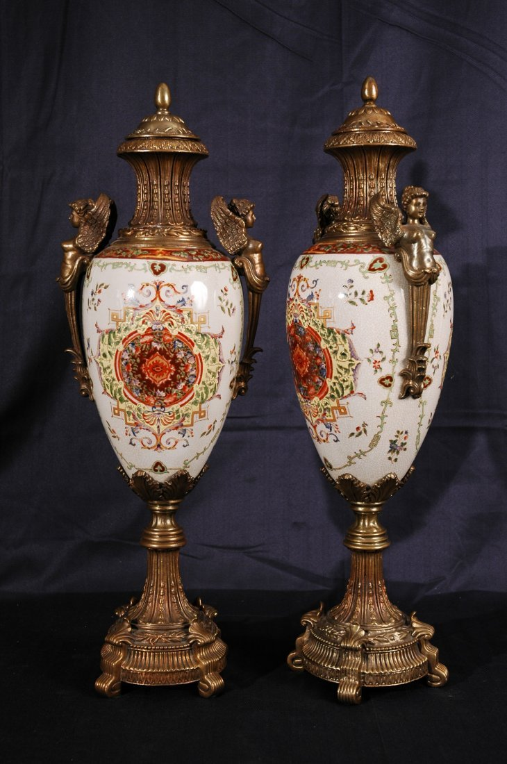 18: Pair of Hand Painted Porcelain and Brass Vases