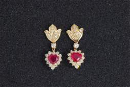 161: Diamond and Ruby Earrings