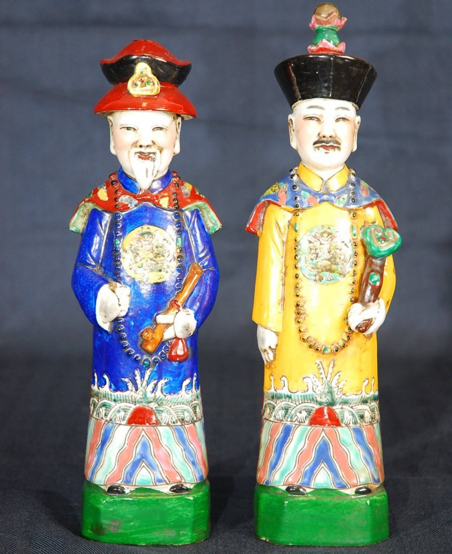 6: Pair of Vintage Porcelain Emperors (Qing Dynasty)
