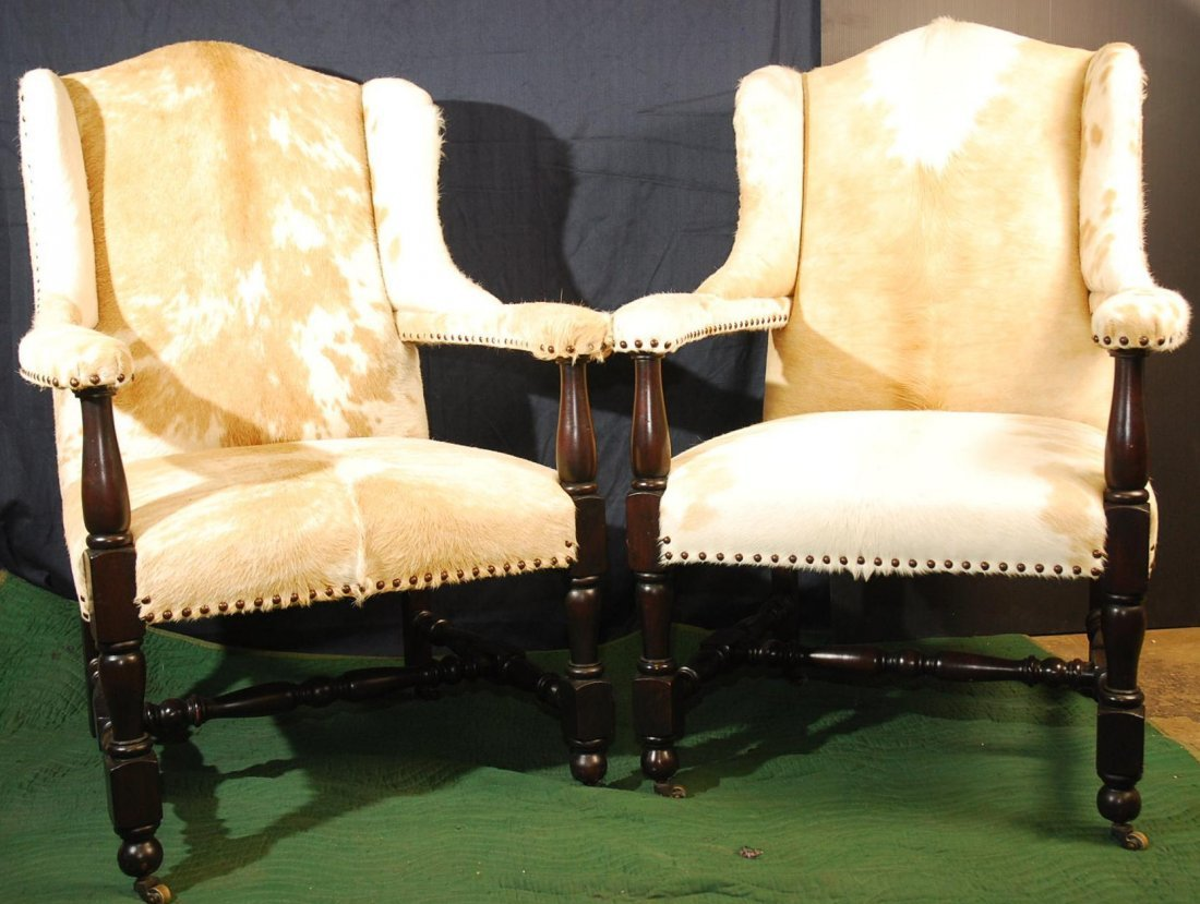 7: Pair of Deluxe Western Style Cowhide Chairs