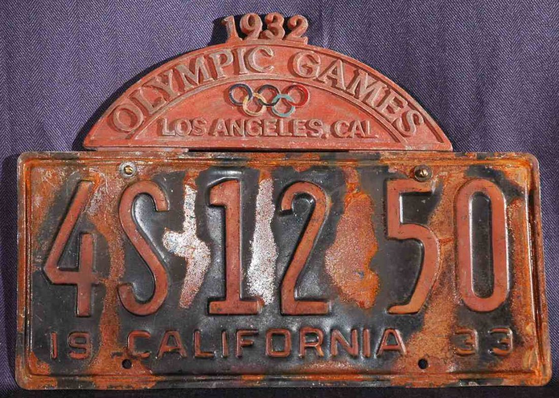 4: 1932-33 California Olympic Games Licenese Plate