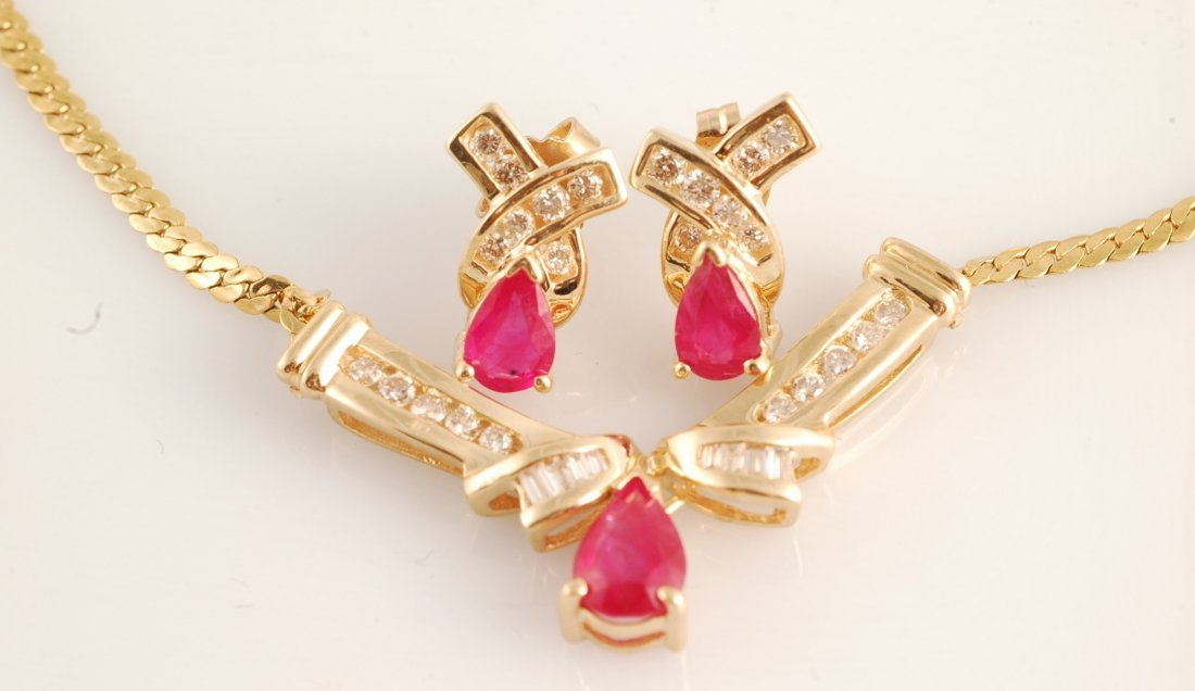 5: Exquisite 1.5ct Ruby & Diamond Necklace Earrings Set