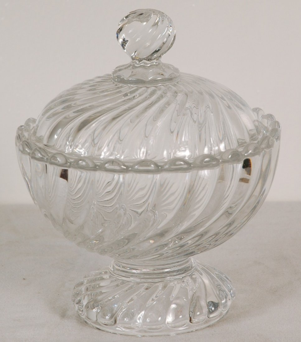 8: French Baccarat Crystal Dish With Lid