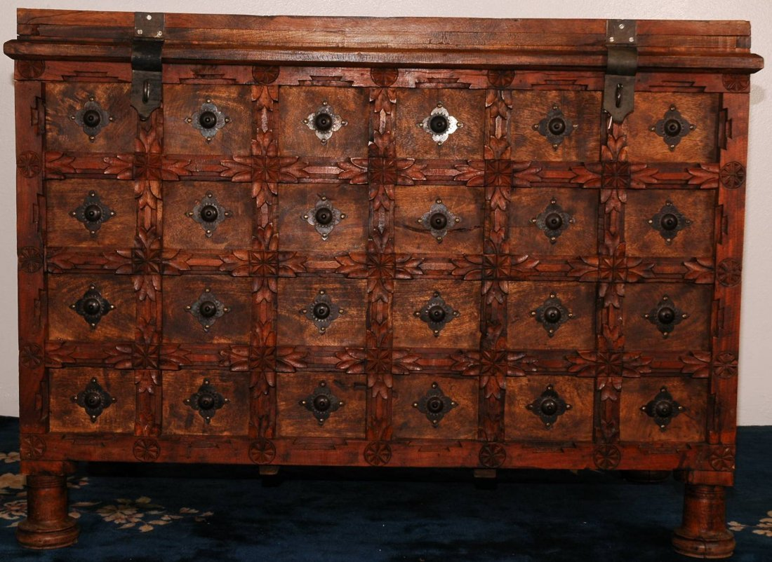 13: Vintage Hand Carved Wooden Chest