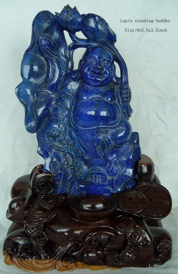 222A: Semi Precious Lapis Standing Buddha