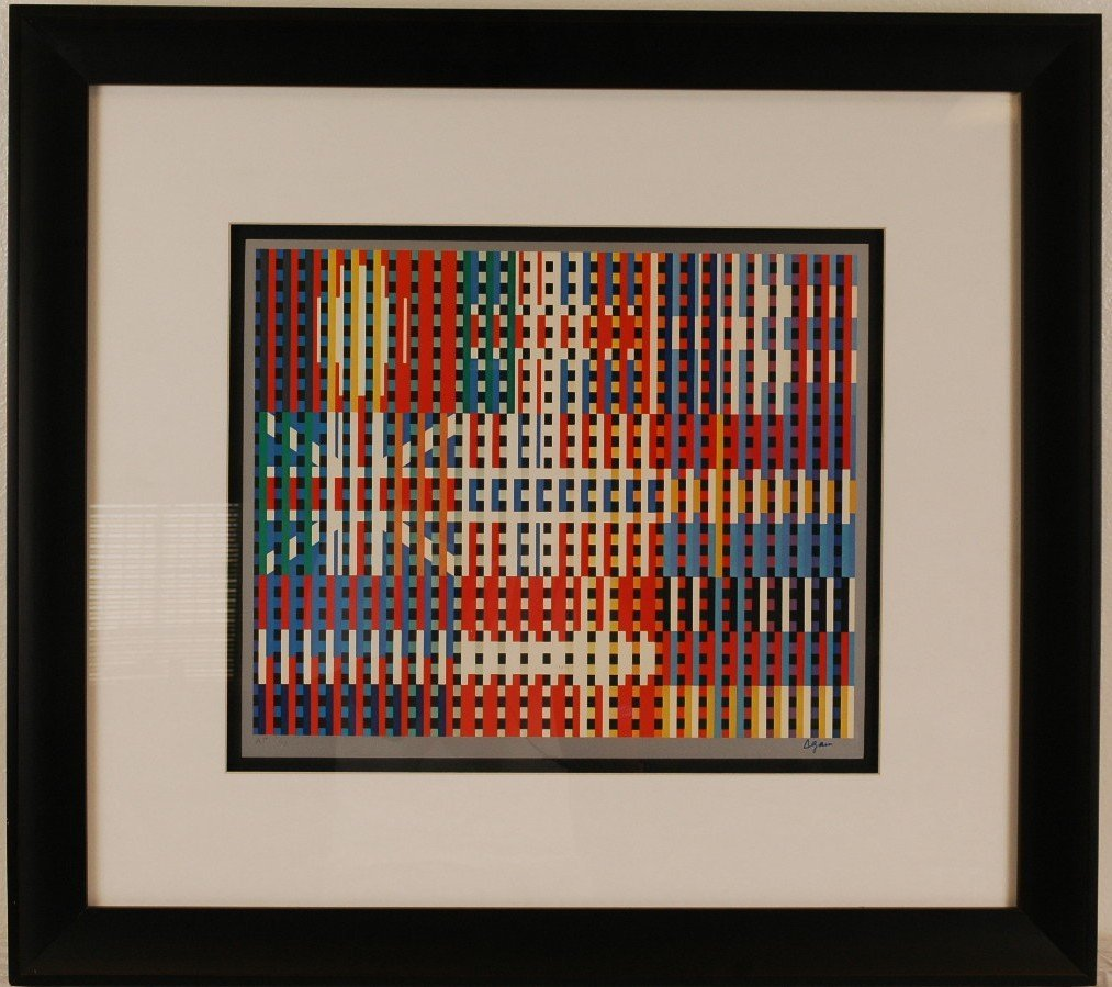 "11: After Agam Geometric Lithograph Framed 29"" x 26"""