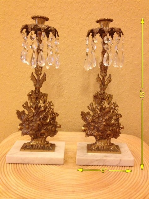 7: Pair of Vintage Crystal and Brass Candleholders