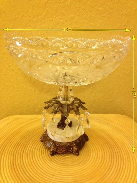 7A: Vintage Crystal Bowl on Brass and Marble Base