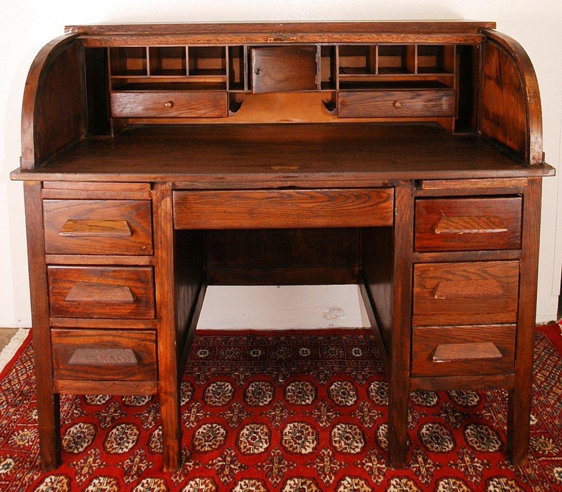 9: Antique Roll Top Desk Circa 1900's