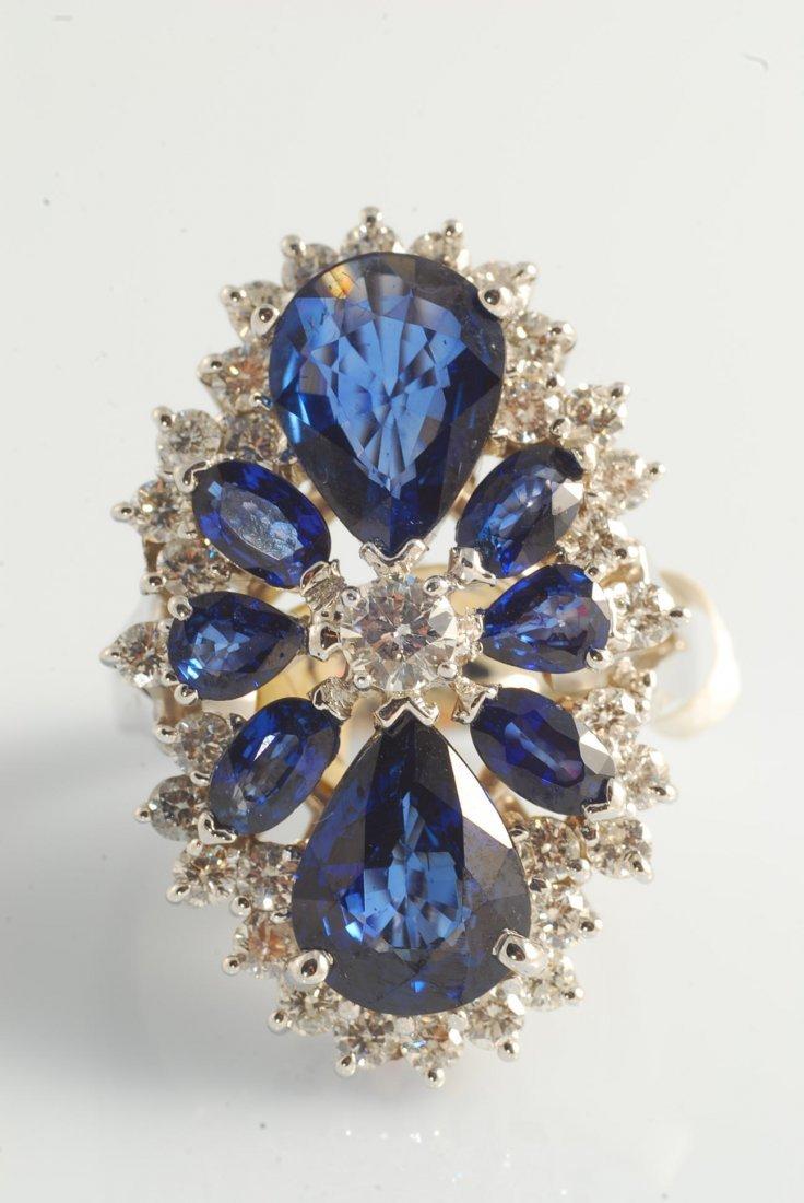 16: Sapphire (5.76ct) and Diamond (1.37ct) Ring