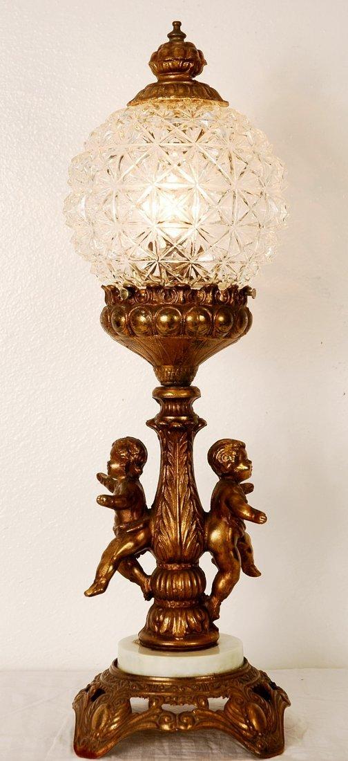 22A: Vintage Cherub Lamp, Glass globe