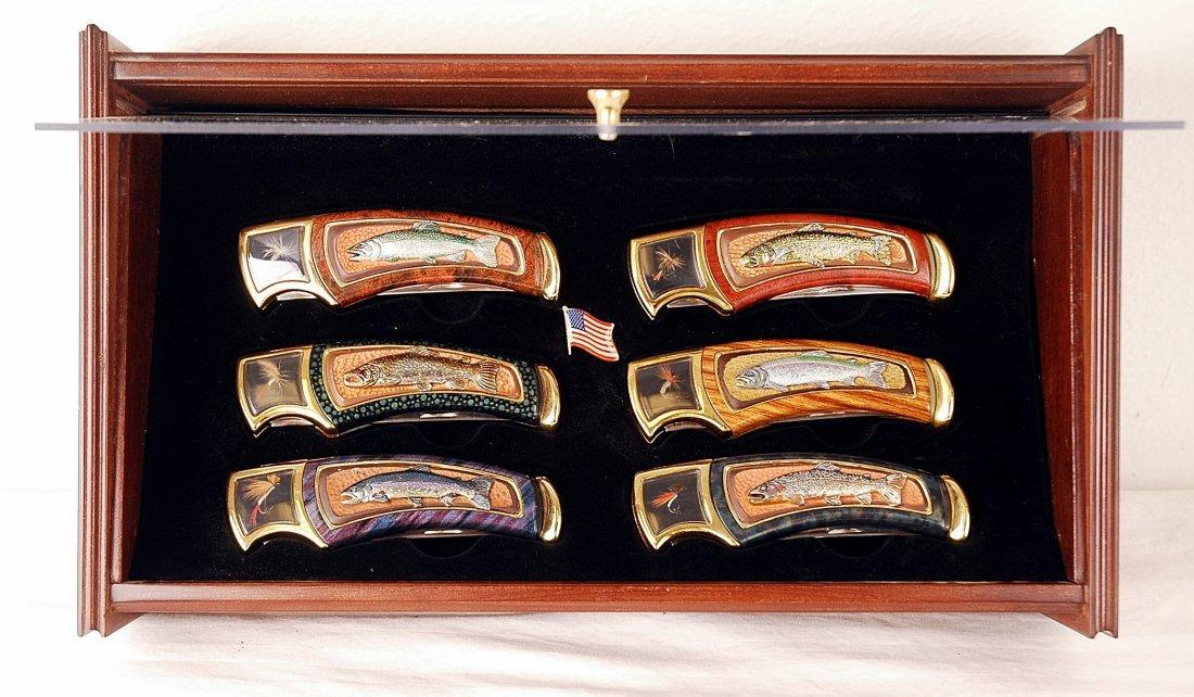 30: Franklin Mint Trout Collector Knife Set w/Display B