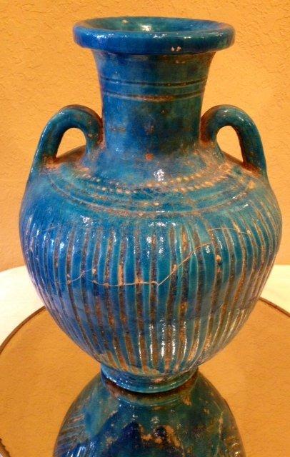 57: Ancient Egyptian Lion Headed Goddess Blue Vessel 18