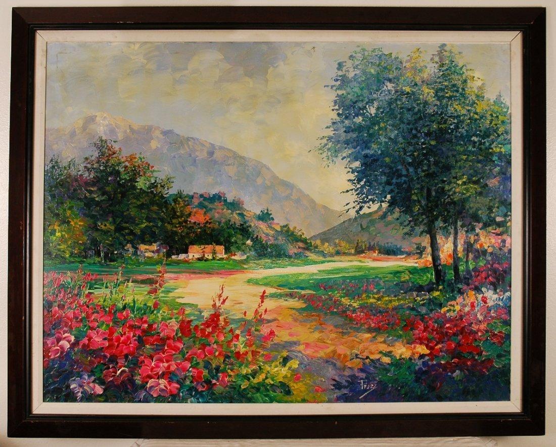 """7B: Alex Perez """"Provencal Landscape"""" 50""""x40"""" Original O"""