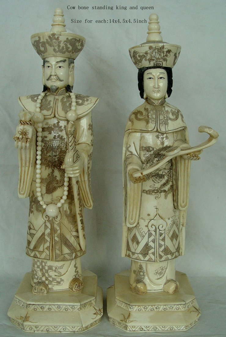 """5A: Hand Carved Bone Standing King and Queen 14"""""""