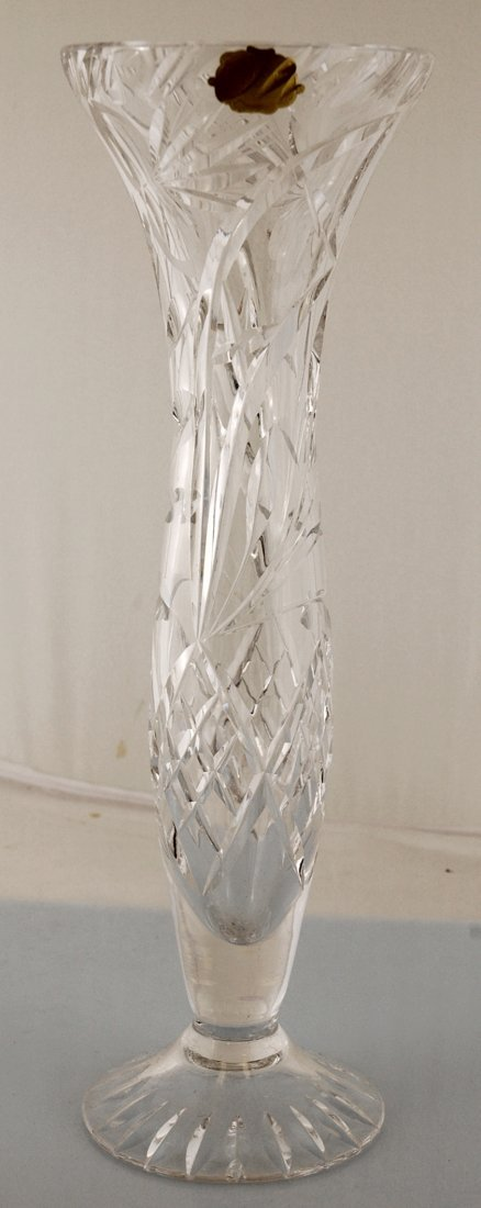 5: Vintage Echt Bleikristall Crystal Footed Vase German