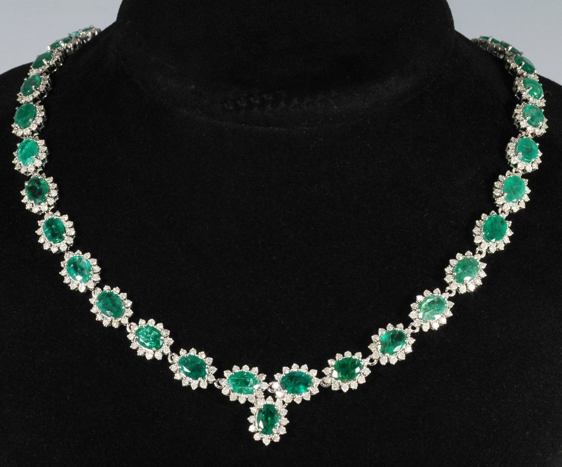 4A: 35.57ct Emerald and Diamond Necklace