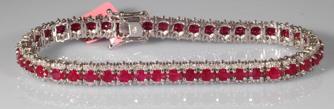 12: 11.7ct Ruby and Diamond Bracelet in 18K White Gold