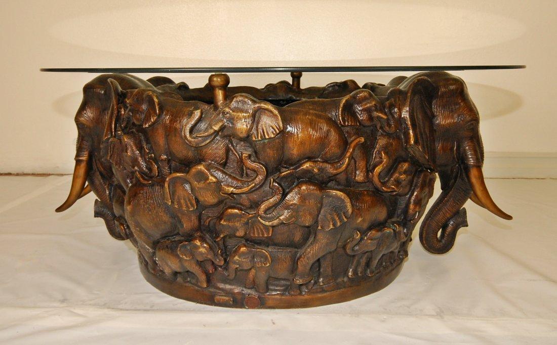 158: Large Cast Bronze Elephant Bowl /Table  Limited Ed