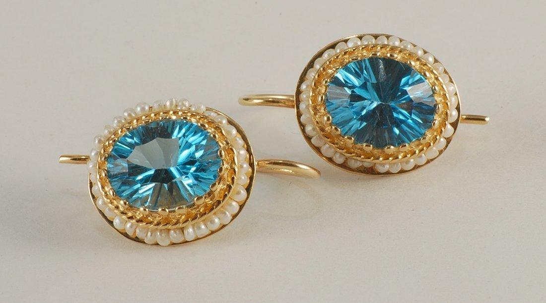 Blue Topaz & Seed Pearl Earrings