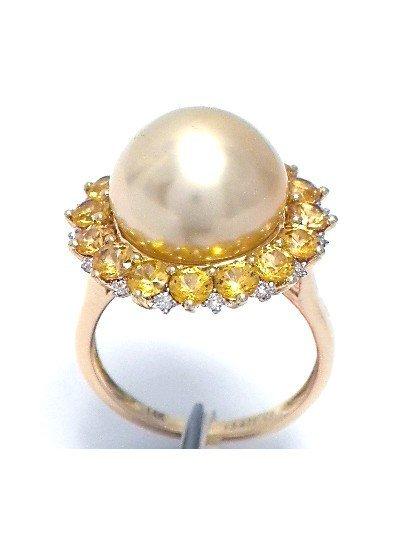 Pearl (13.47 mm) , 2.36ct Yellow Sapphire & 0.13 ct Dia