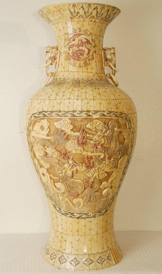 "Hand Carved Bone Vase 40"" Tall"