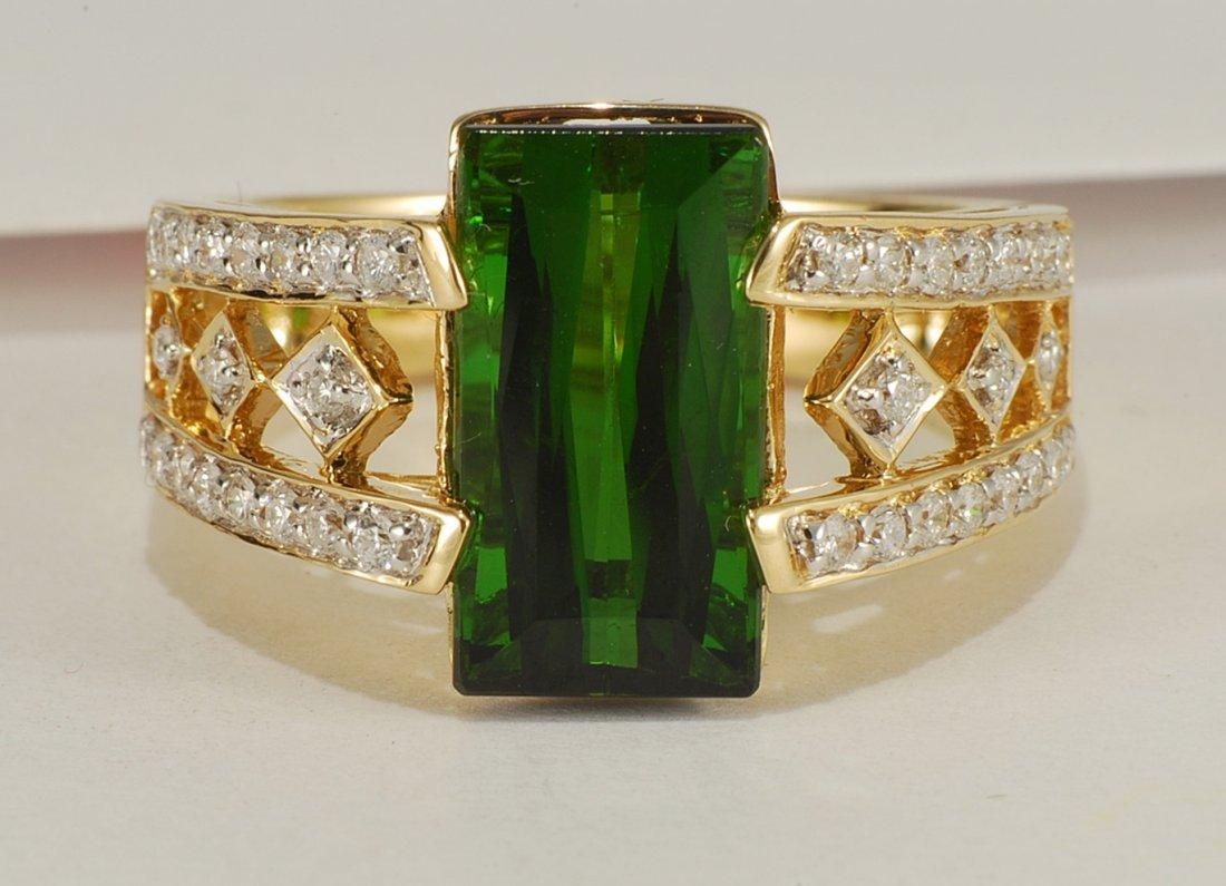 4.76 ctw Green Tourmaline & Diamond Ring