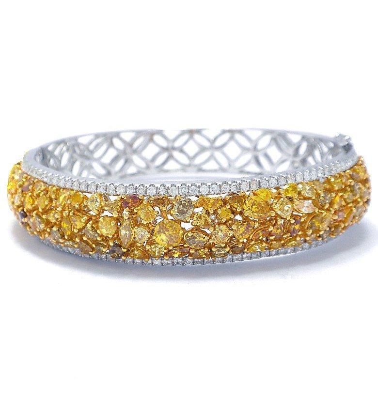 9.42 ctw Diamond Bangel 18K White Gold