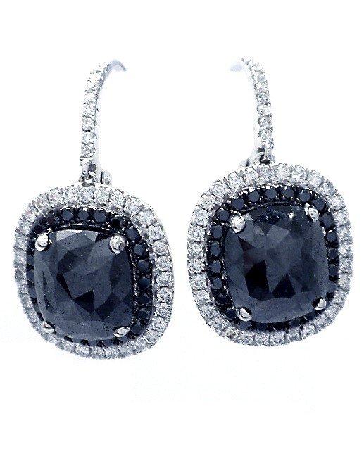 7.62 ct Black Diamond & 0.76 ct Diamond Earrings