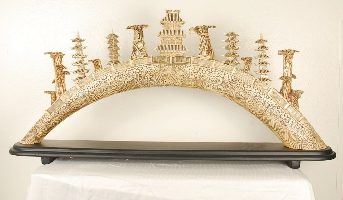 Hand Carved and Painted Bone Bridge