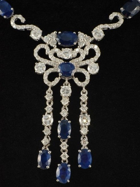 25.16 ct Sapphire and Diamond Necklace in 18K White Gol