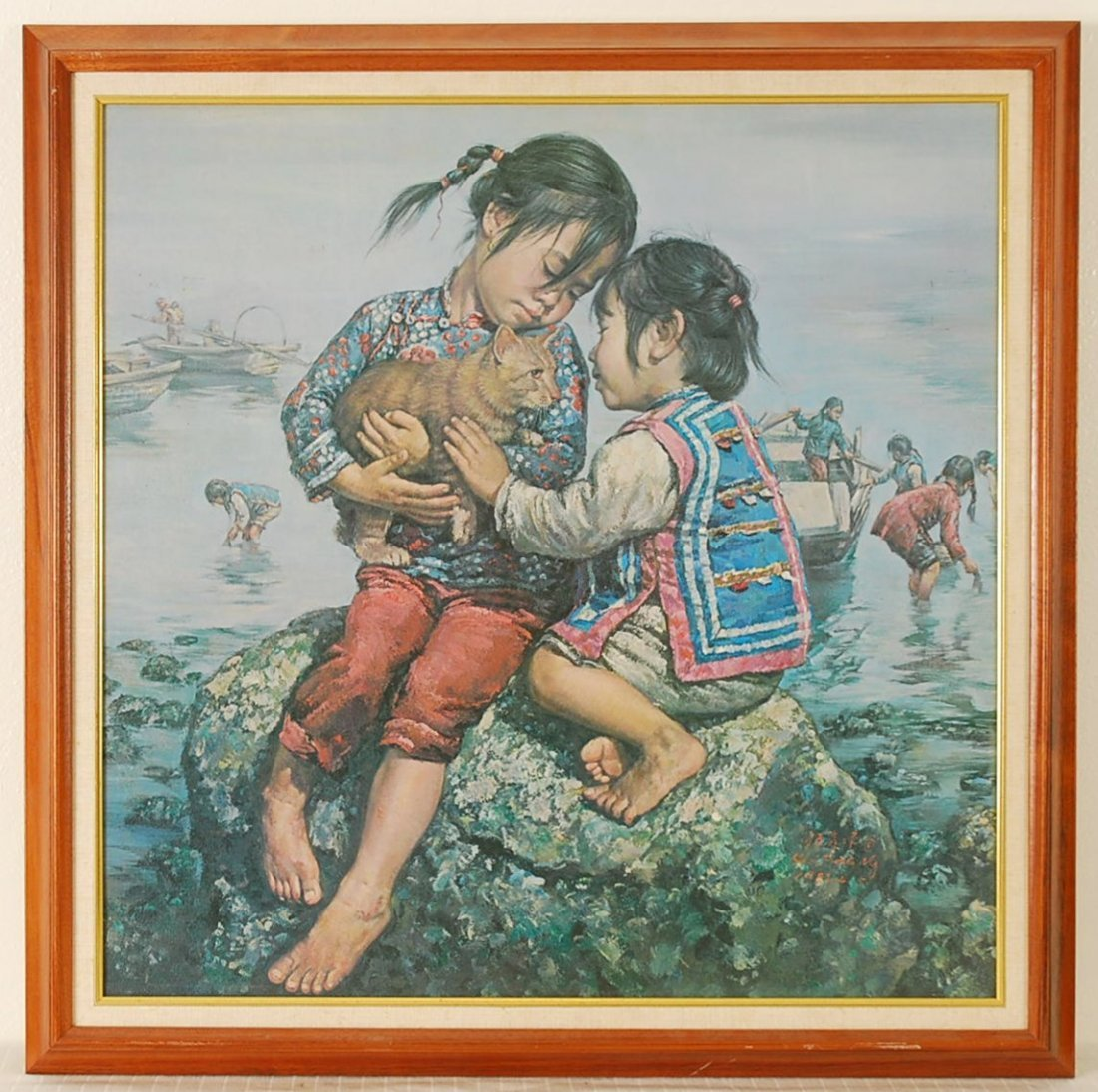 """Kee Fung Ng """"Girls With Cat"""" Signed Color Canvas Transf"""