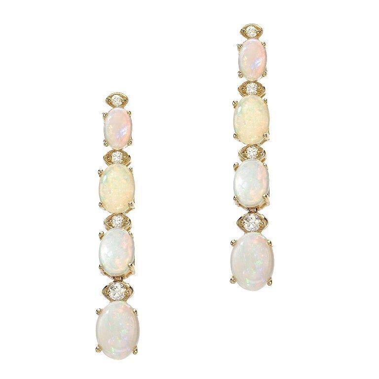 3.50ct Opal 0.35 Diamond Earrings