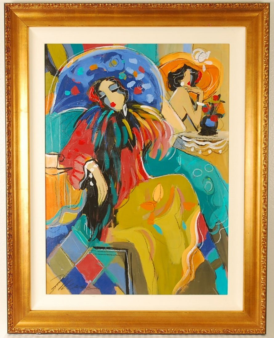 """Hand Signed Issac Maimon """"Waiting at the Cafe"""""""