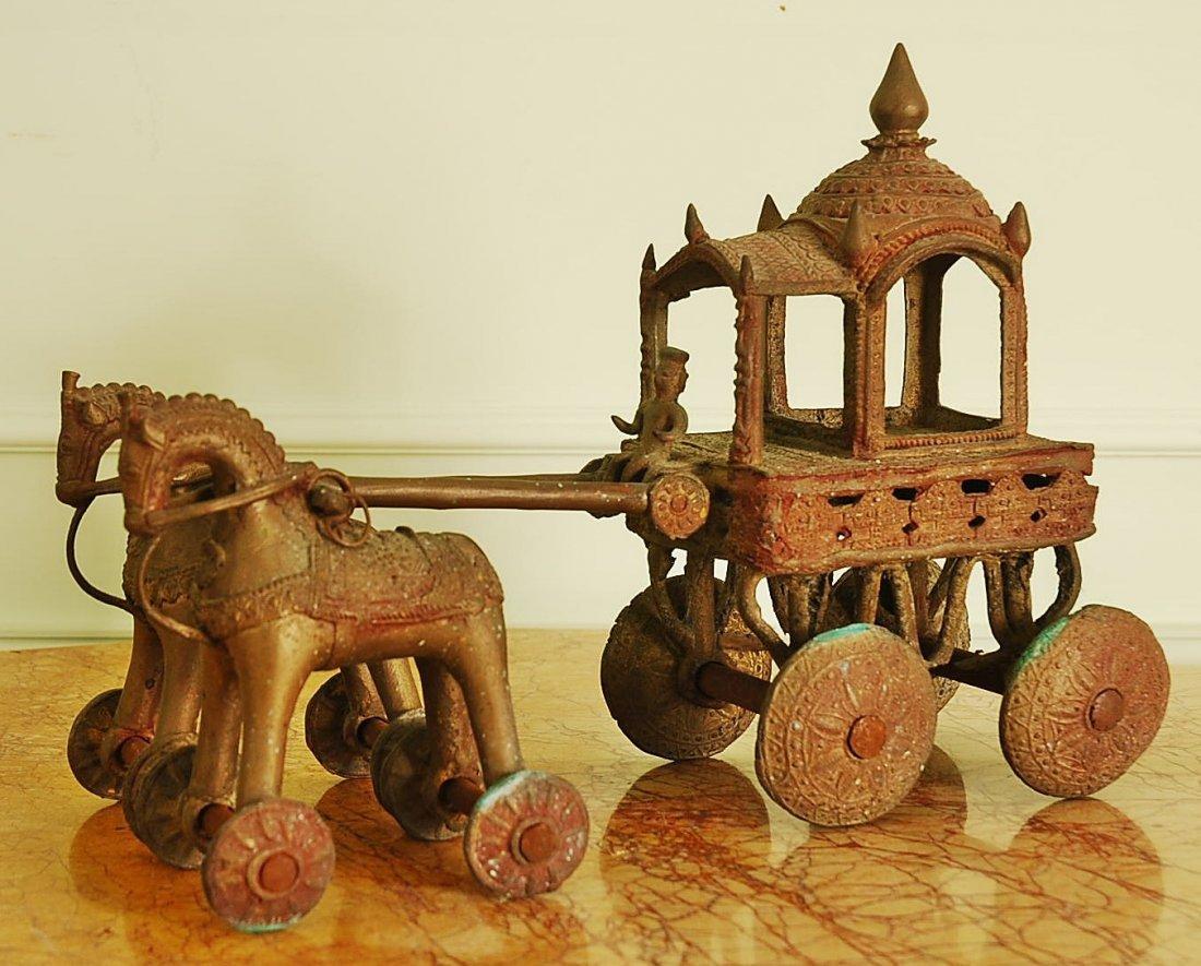 Antique Thai Cast Iron Horses and Carriage