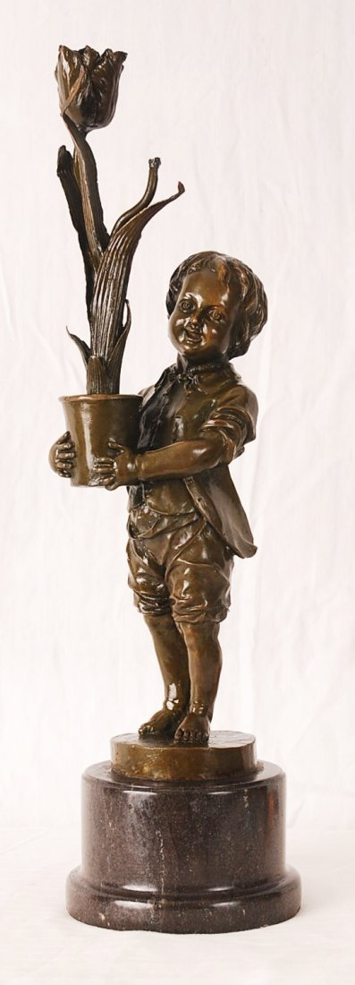 """Bronze Boy With Pot of Flowers 20"""" Tall"""