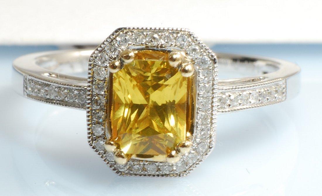 1.17ct Yellow Sapphire and Diamond Ring