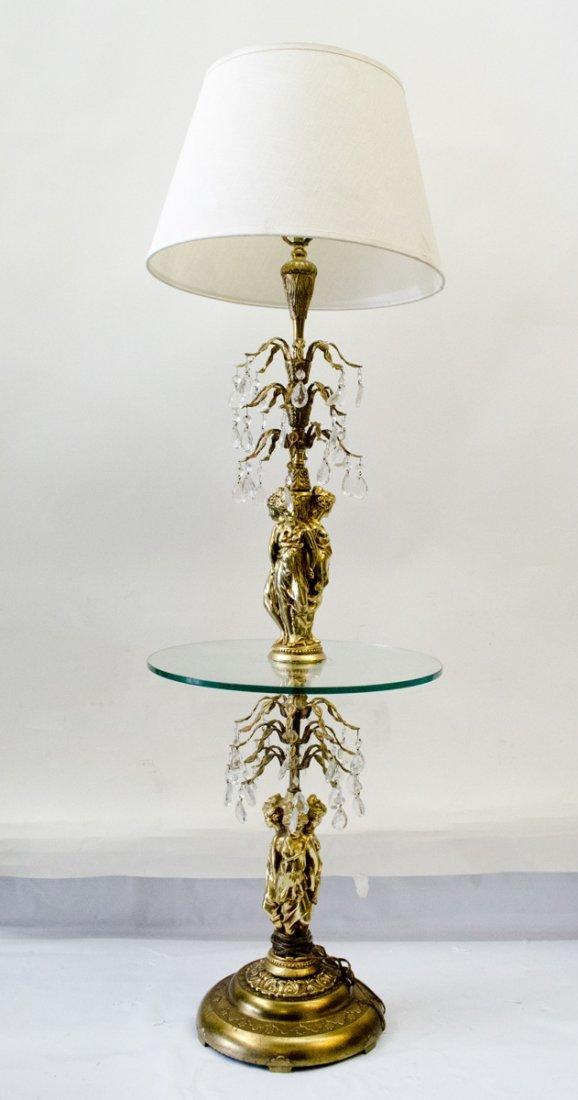 Vintage Italian Floor/Table Lamp Brass with 3 Figurines