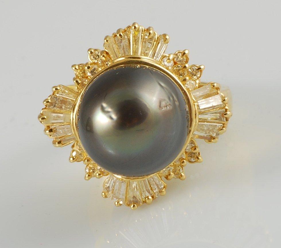 South Sea Tahitian Pearl & Diamond Ring in Yellow Gold