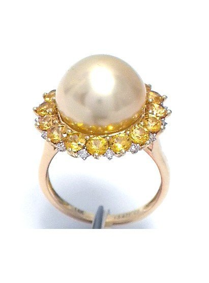 Pearl (13.47 mm) , 2.36ct Yellow Sapphire & 0.13 ct