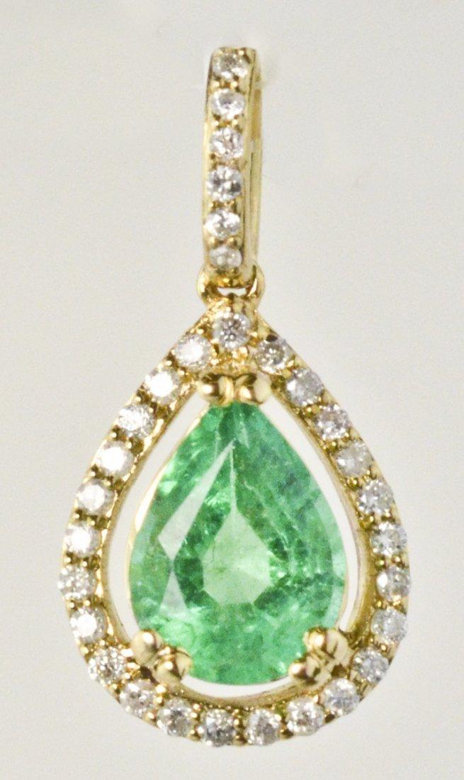 1.48 ct Emerald and 31 ct Diamond Pendant