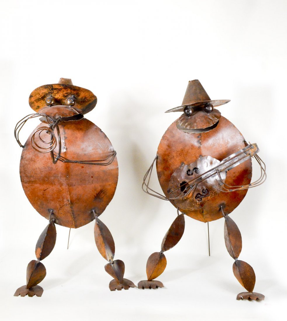 "Pair of Metal Mariachi Frog Scultptures 36""Tall"