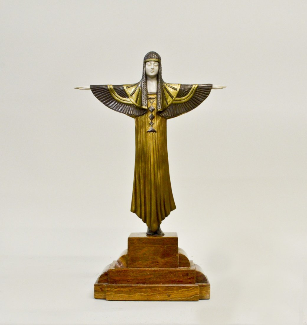 """""""Creed"""" Art Deco Bronze and Ivory Signed Sculpture On"""