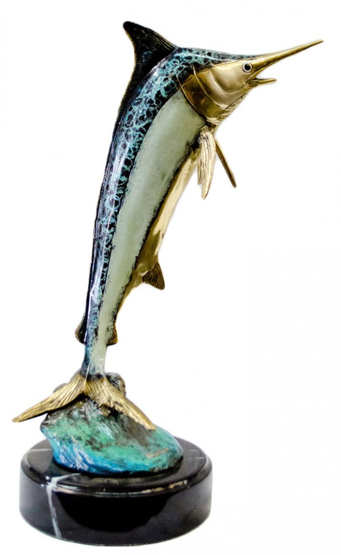 "16"" Bronze Statue of Marlin Fish ""Marius"""